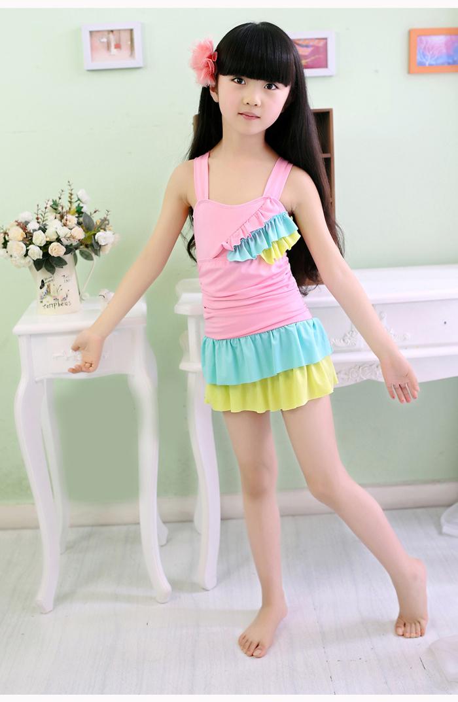 韩国儿童游泳衣女童女孩泳装公主比基尼宝宝分体裙式小中大童泳裤