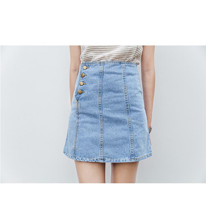 牛仔裙a字裙单排扣包臀短裙2016夏季新款浅蓝色高腰半身裙
