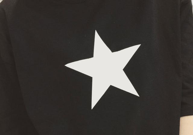 五角星后背字母印花白色纯棉中长款t恤】