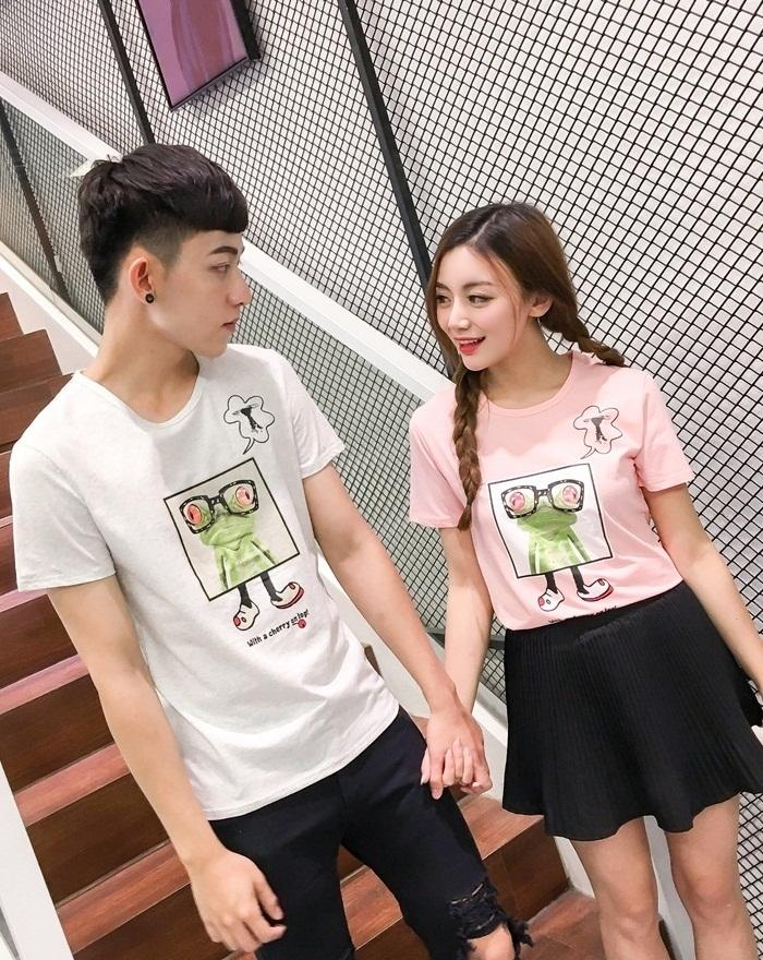 独立工厂▲夏季眼镜卡通印花情侣短袖t恤图片