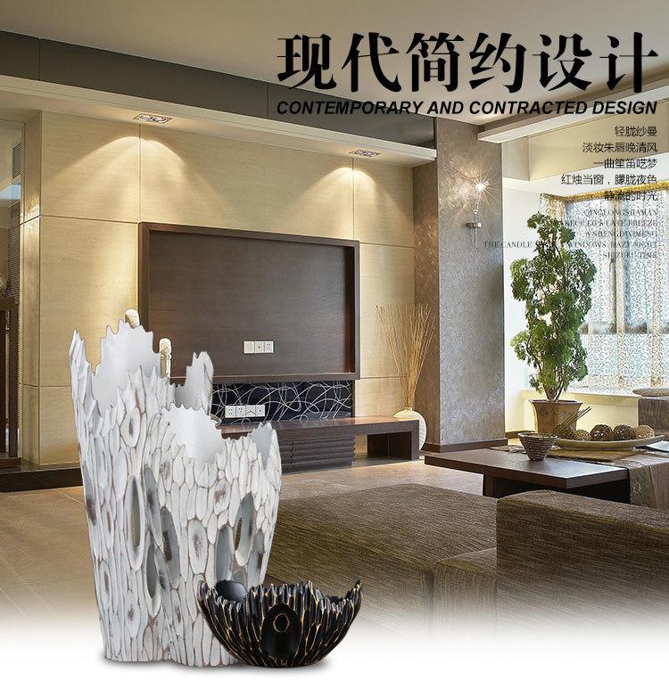 雅智树脂 高档仿木镂空工艺花瓶 欧式摆件客厅玄关橱窗创意装饰