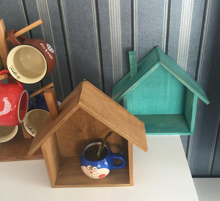zakka做旧木质小房子收纳壁饰门厅壁挂