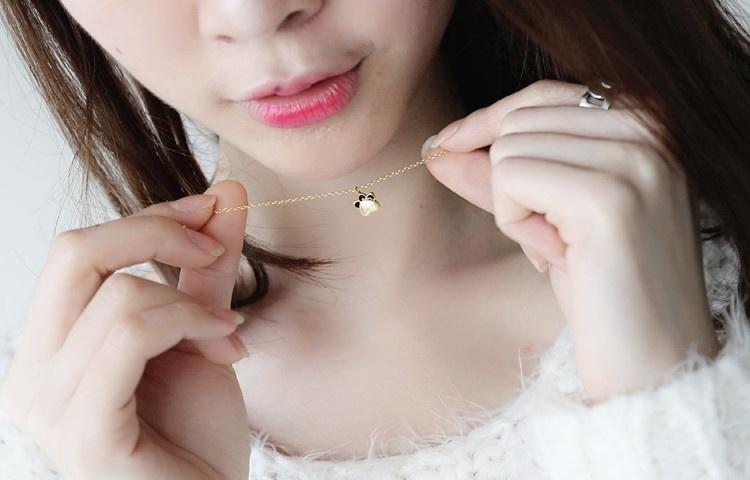 萌萌猫爪小猫咪项链女可爱s925纯银锁骨链