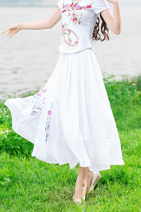 【百褶手绘抹胸两穿半身裙】-衣服-半身裙