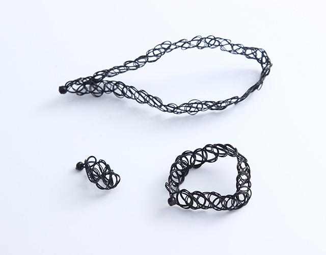 【三件套】原宿风纹身戒指手环项链