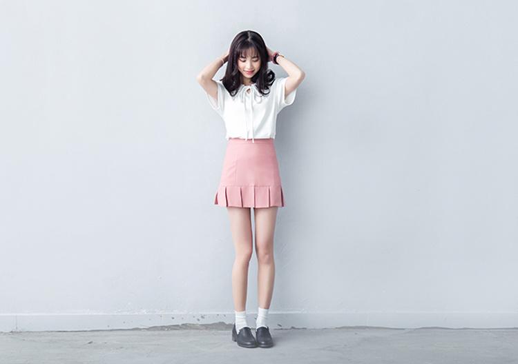 【夏季女装小清新娃娃领百搭短袖t恤 打底衫】-衣服