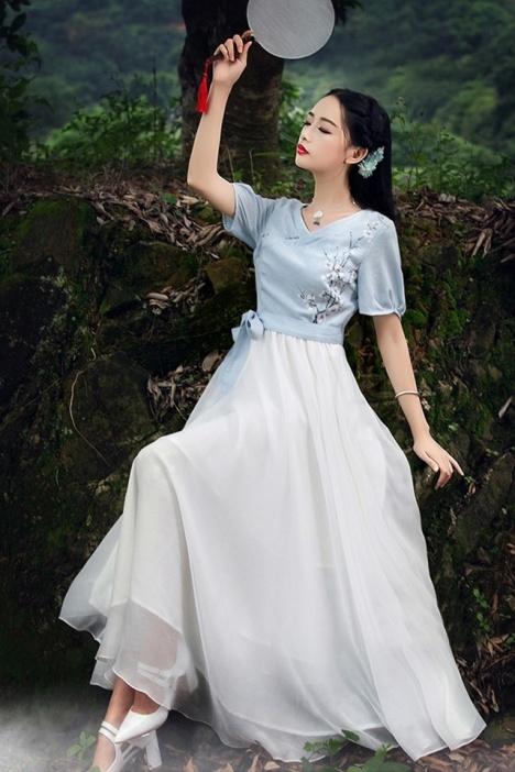 【潘多拉2016新款复古手绘梅花连衣裙】-衣服-裙子