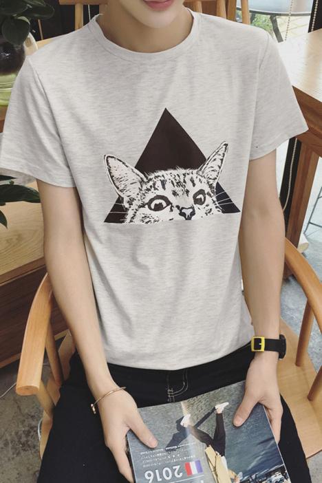 【【cn】夏装新款日系小猫动物印花修身短袖t恤】