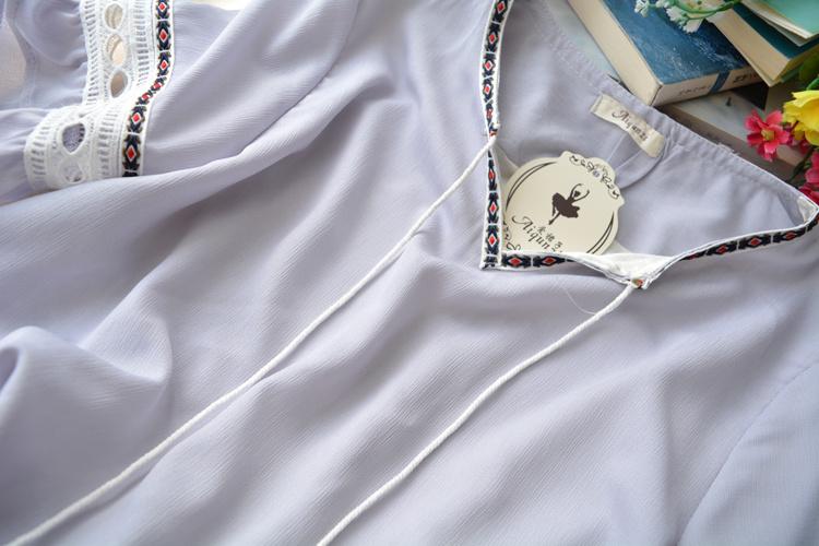 裙显瘦纯色民族风连衣裙