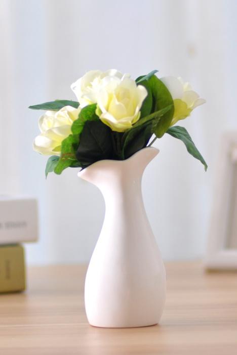 【黑白陶瓷插花小花瓶摆件现代简约创意客厅玄关工艺
