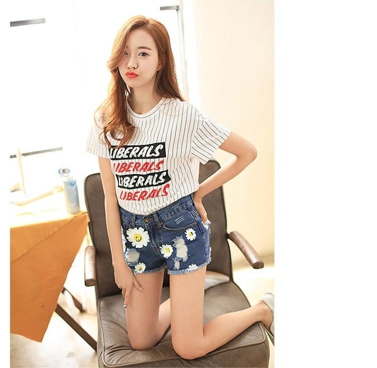 杨颖明星同款2016夏季破洞印花韩版时尚女装牛仔短裤