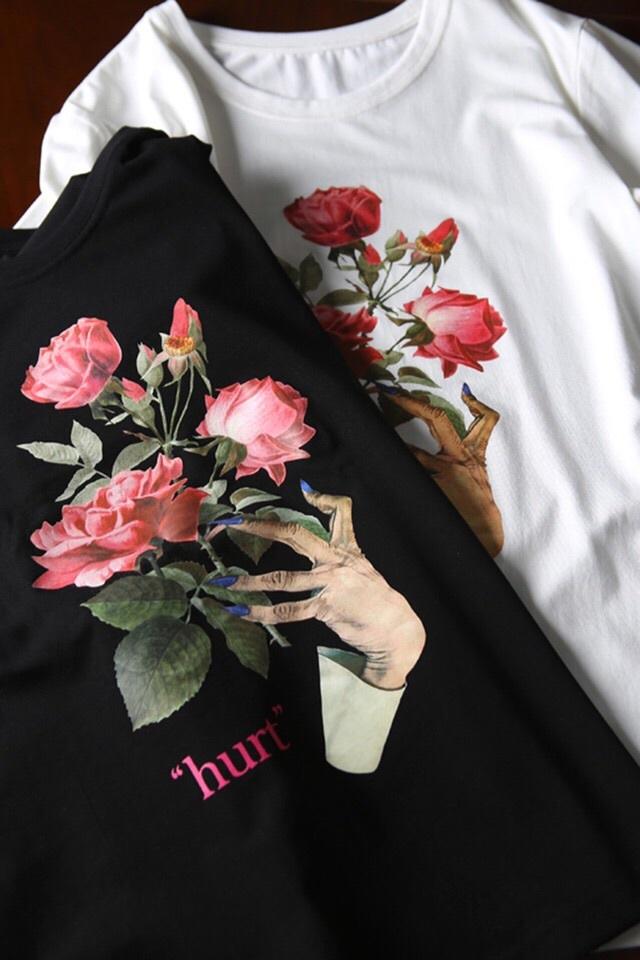 日本奢侈高街高桥盾 手工雕花玫瑰花鬼爪系列情侣限定t恤
