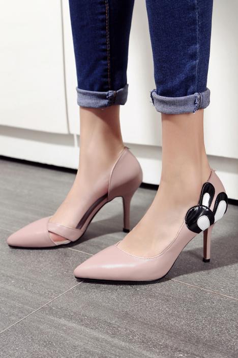 【可爱米老鼠】韩版新款细跟浅口卡通镂空ol职业超高跟单穿凉鞋