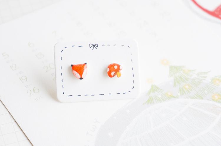 【狐狸&蘑菇】彩铅手绘防过敏|925银耳钉创意手工礼物