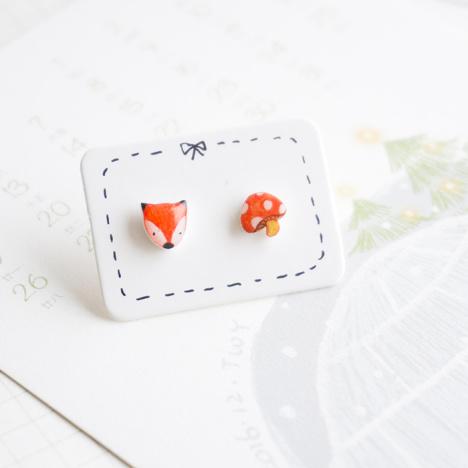 【【狐狸&蘑菇】彩铅手绘防过敏|925银耳钉创意手工