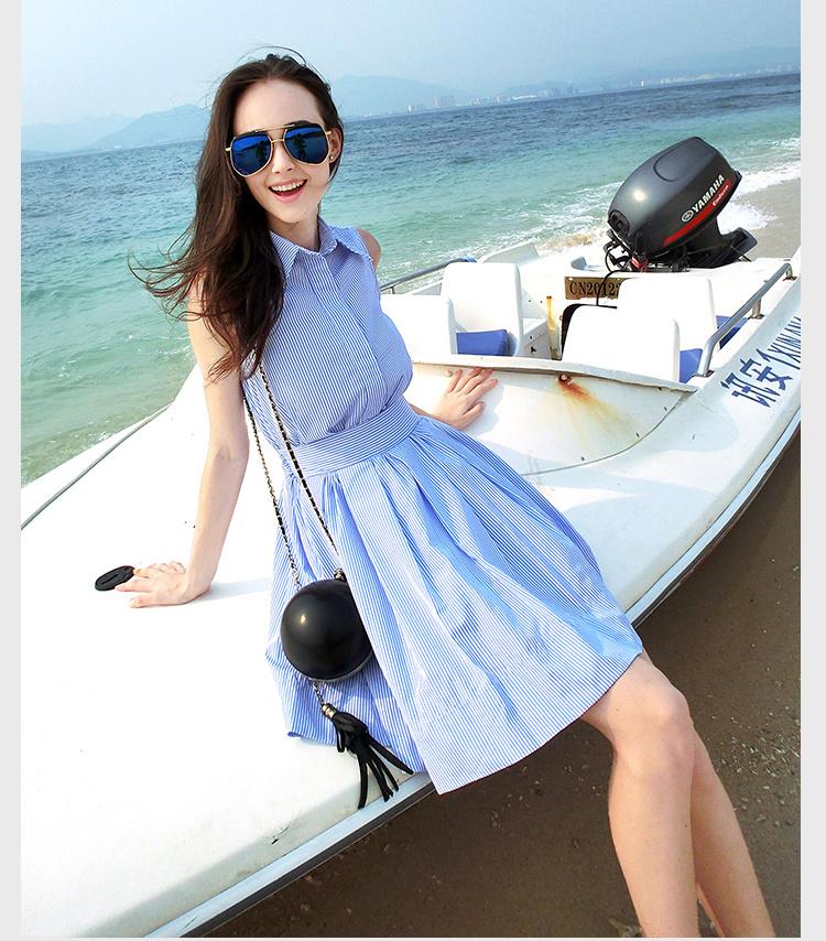 【韩版小清新显瘦蓝色条纹衬衫连衣裙】-衣服-裙子