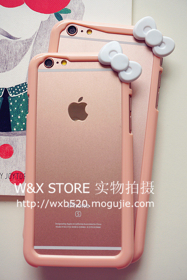【美美哒嫩粉色蝴蝶结iphone6/6s手机壳边框】-配饰