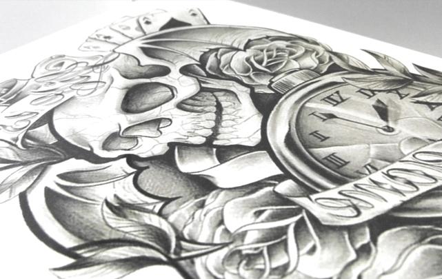 花臂骷髅玫瑰防水纹身贴纸【单张】图片