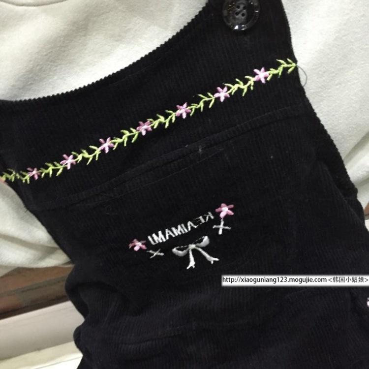 学生减龄小清新宽松字母刺绣连体裤